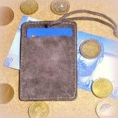 Серый кожаный картхолдер с держателем замшевый