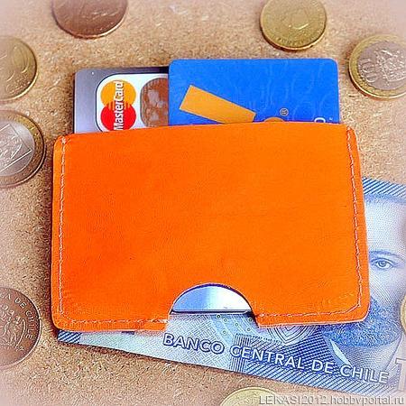 Оранжевый неоновый кожаный картхолдер ручной работы на заказ