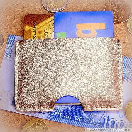 Золотой кожаный картхолдер ручной работы на заказ