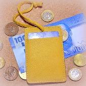 Желтый кожаный картхолдер с держателем