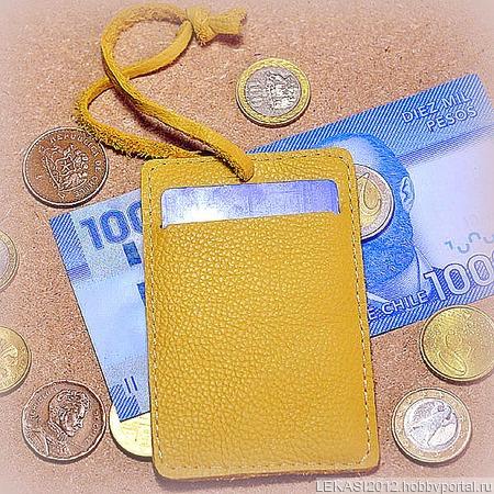 Желтый кожаный картхолдер с держателем ручной работы на заказ