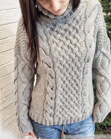 """Вязаный свитер """"Косы"""" крупной вязки ручной работы на заказ"""