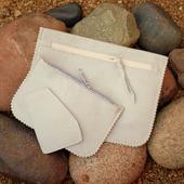 Серые клатч + косметичка + картхолдер из натуральной кожи