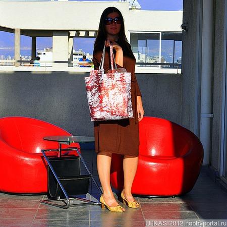 """Двусторонняя женская кожаная сумка """"Летний бриз"""" ручной работы на заказ"""
