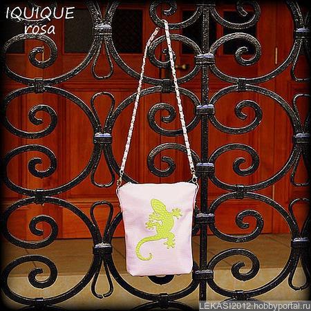 """Женская кожаная нежно-розовая сумка """"Iquique"""" Rosa ручной работы на заказ"""
