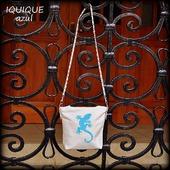 """Женская кожаная сумка с ящерицей """"Iquique"""" Серый с голубым"""