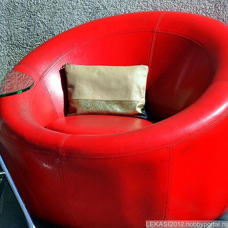 """Большой кожаный клатч золотой с бежевым """"Marina"""" ручной работы на заказ"""