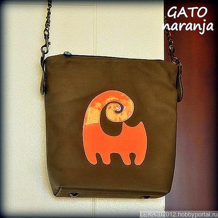 """Женская кожаная сумка """"Iquique"""" Оранжевый неоновый кот ручной работы на заказ"""