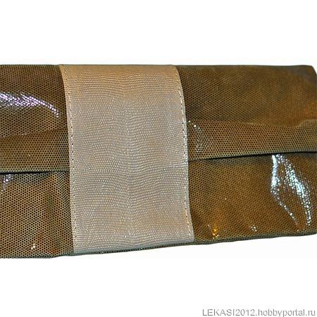 """Кожаный клатч """"Butterfly"""" зеленая змея зеленый/бежевый ручной работы на заказ"""