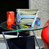 """Кожаный клатч """"Francesca"""" голубой / золотой / оливковый"""