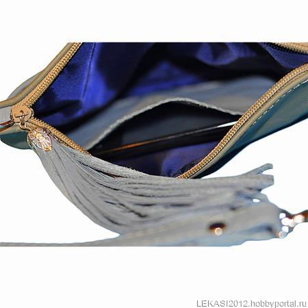 """Кожаный клатч """"Francesca"""" голубой / золотой / оливковый ручной работы на заказ"""