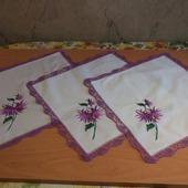 """Комплект салфеток""""Фиолетовые хризантемы"""""""