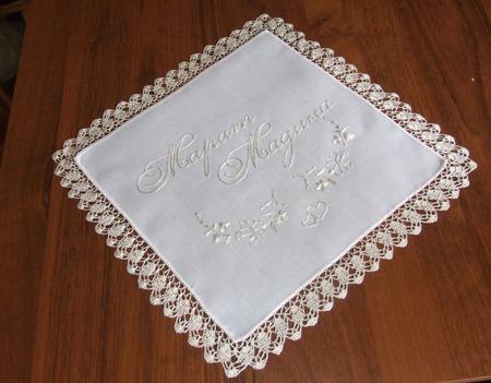 Свадебный платочек для невесты ручной работы на заказ