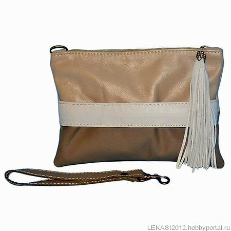 """Кожаный клатч """"Francesca"""" бежевый / серый / коричневый ручной работы на заказ"""