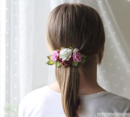 """Заколка-автомат нарядная с цветами для девочки """"Цветочки для дочки"""" ручной работы на заказ"""