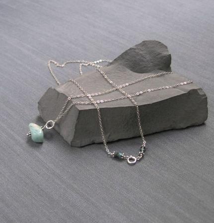 "Кулон на цепочке ""Brushstroke"" из серебра с амазонитом ручной работы на заказ"