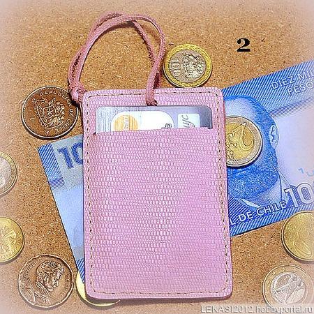 Розовый кожаный картхолдер с держателем ручной работы на заказ