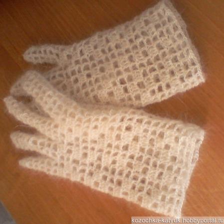 Перчатки ажурные козий пух белый ручной работы на заказ