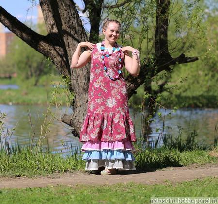 Платье летнее бохо-шик из хлопка ручной работы на заказ