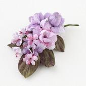 Брошь из ткани нежная ветка с розовыми и сиреневыми цветами