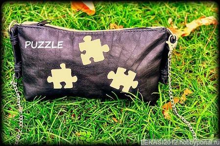 """Очаровательная кожаная сумочка-клатч """"Puzzle"""" ручной работы на заказ"""