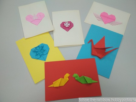 Валентинки-оригами, открытки-оригами ручной работы на заказ