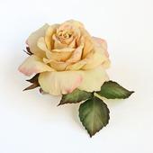 Брошь Роза кремовая, абрикосовая, розово-желтая