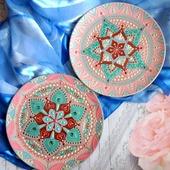 Декоративные тарелки пара керамика точечная роспись