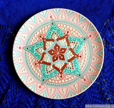 Декоративные тарелки пара керамика точечная роспись ручной работы на заказ