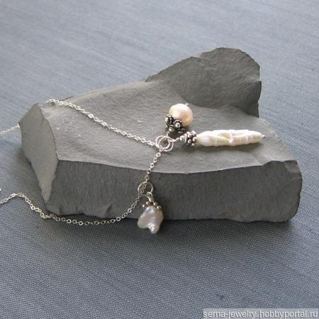 "Подвески ""Mad about pearls"" из жемчуга на цепочке из серебра ручной работы на заказ"