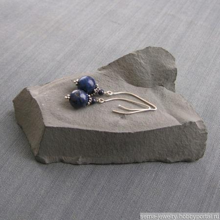 """Серьги """"Azure beauty"""" из серебра и лазурита ручной работы на заказ"""