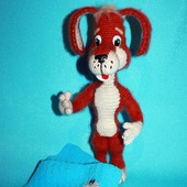 Игрушка вязаная Рыжий пёс