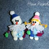 Снеговик с подружкой. Новогодние игрушки