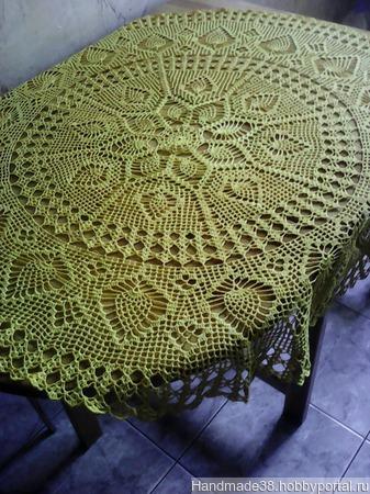 Скатерть вязаная желтая ручной работы на заказ