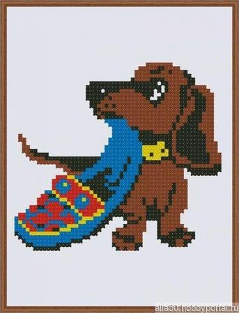 """Комплект схем для вышивки крестом """"Занятия собачек"""" ручной работы на заказ"""