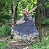 Джинсовое платье в стиле бохо летнее.