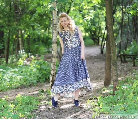Джинсовое платье в стиле бохо летнее. ручной работы на заказ