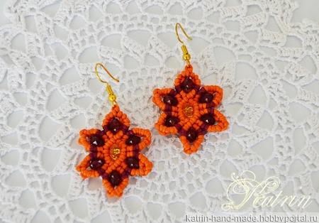 """Небольшие серьги макраме """"Оранжевый цветок"""" ручной работы на заказ"""