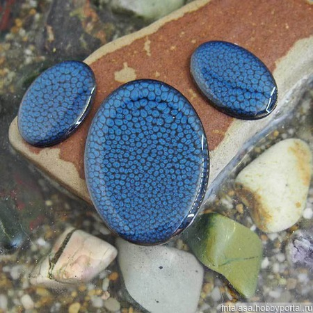 Набор из трех овальных кабошонов полночно-синего цвета ручной работы на заказ