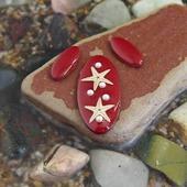 Комплект овальных кабошонов, цвет - вишня