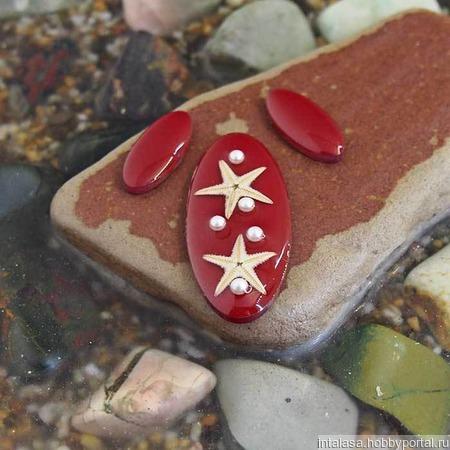 Комплект овальных кабошонов, цвет - вишня ручной работы на заказ