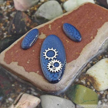 Комплект овальных кабошонов, цвет - полночный синий ручной работы на заказ