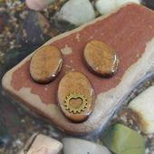 Комплект овальных кабошонов, цвет - ореховый