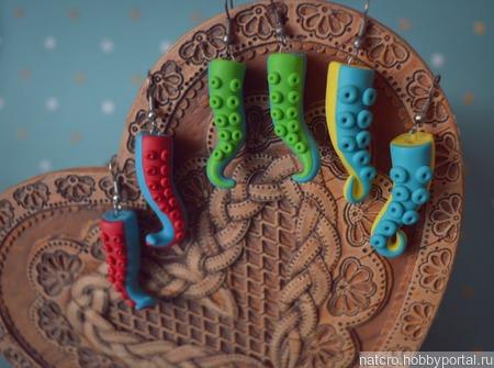 Сережки-осьминожки ручной работы на заказ