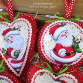 """Елочные игрушки """"Любимый Дедушка Мороз"""" из фетра и ткани"""