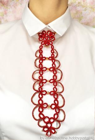 Кружевной галстук «Изящный штрих» ручной работы на заказ