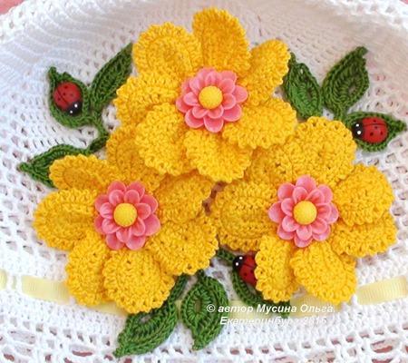 "Панамка детская ""Жёлтые цветы"" ручной работы на заказ"