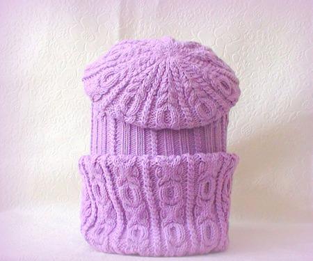 """Комплект (шапка +снуд) """"Цвет лаванды"""" ручной работы на заказ"""