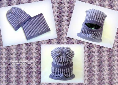 """Комплект (шапка+снуд) """"Сизая дымка"""" ручной работы на заказ"""