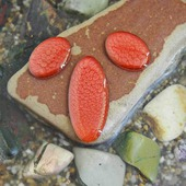 Набор из трех овальных кабошонов, цвет - красный бургундский